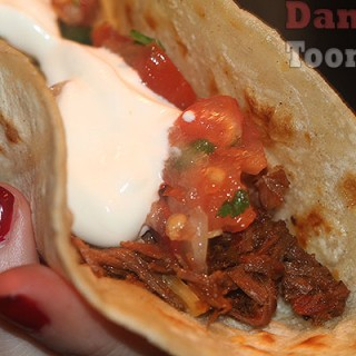 Slow cooked Mexican beef taco