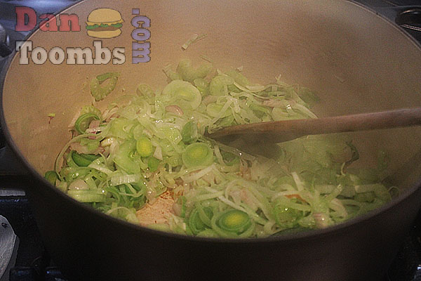 Frying the veggies for the Stew