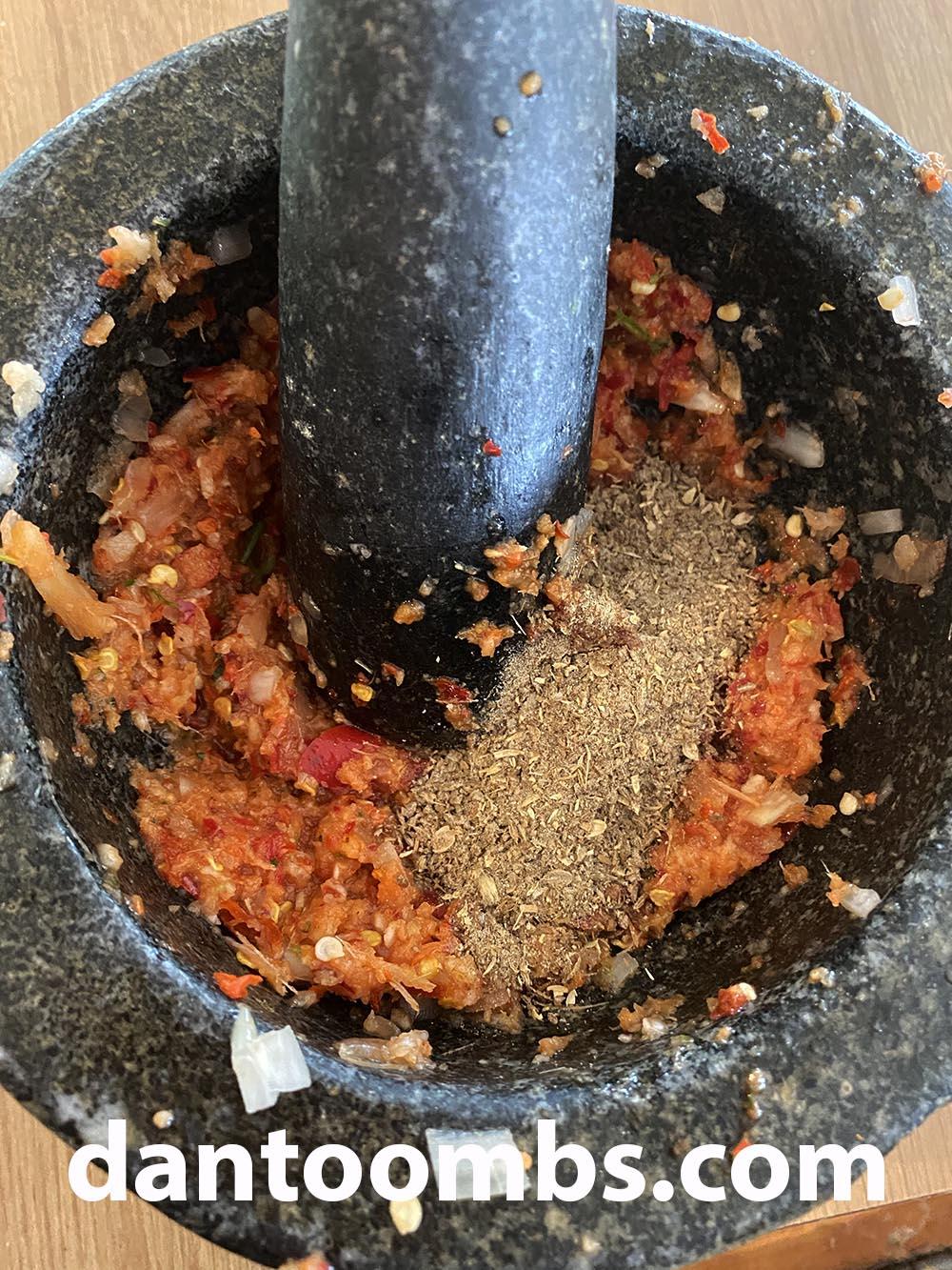 Stirring in ground spices