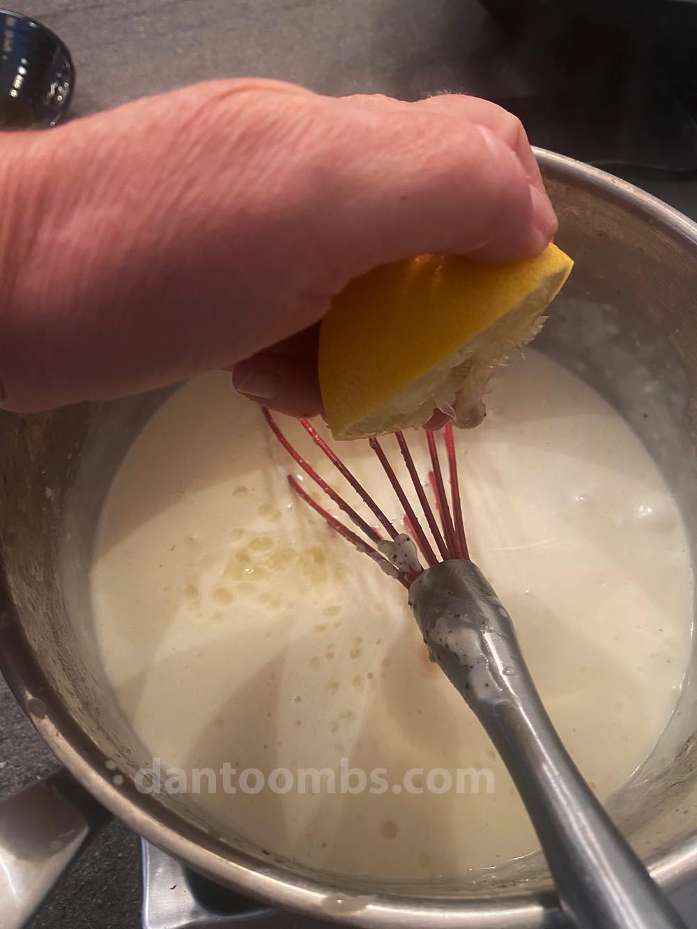Lemon juice being added
