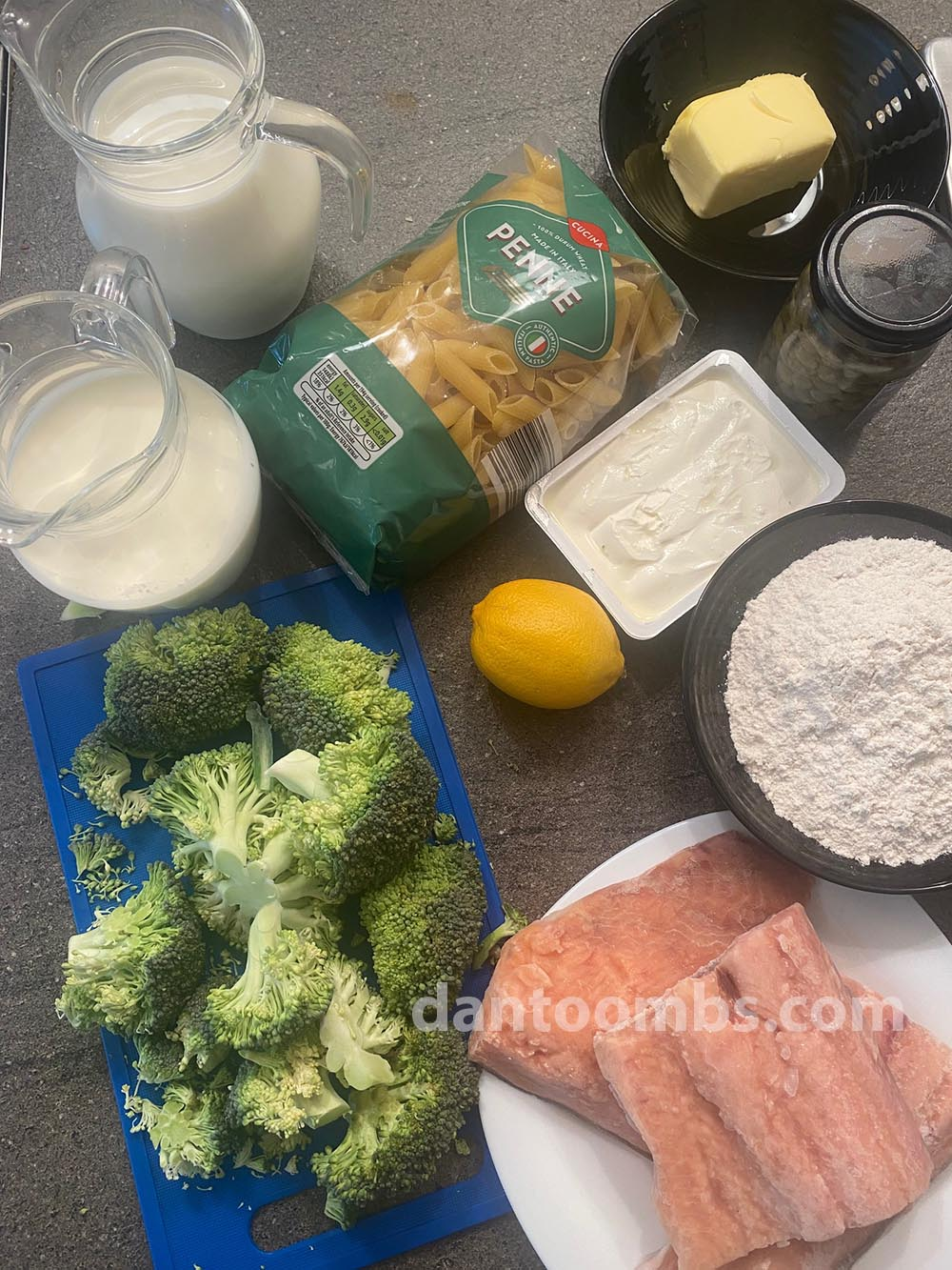 Ingredients for salmon and broccoli pasta bake