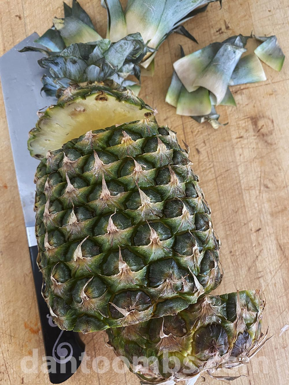 Cutting the center out of a pineapple