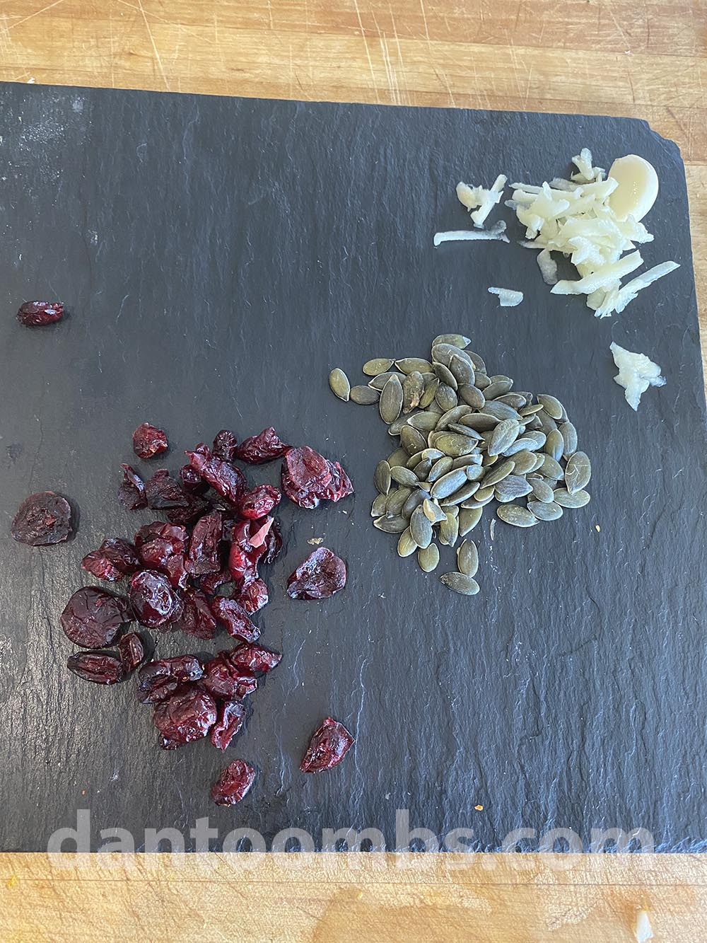 garlic cranberries and pine nuts
