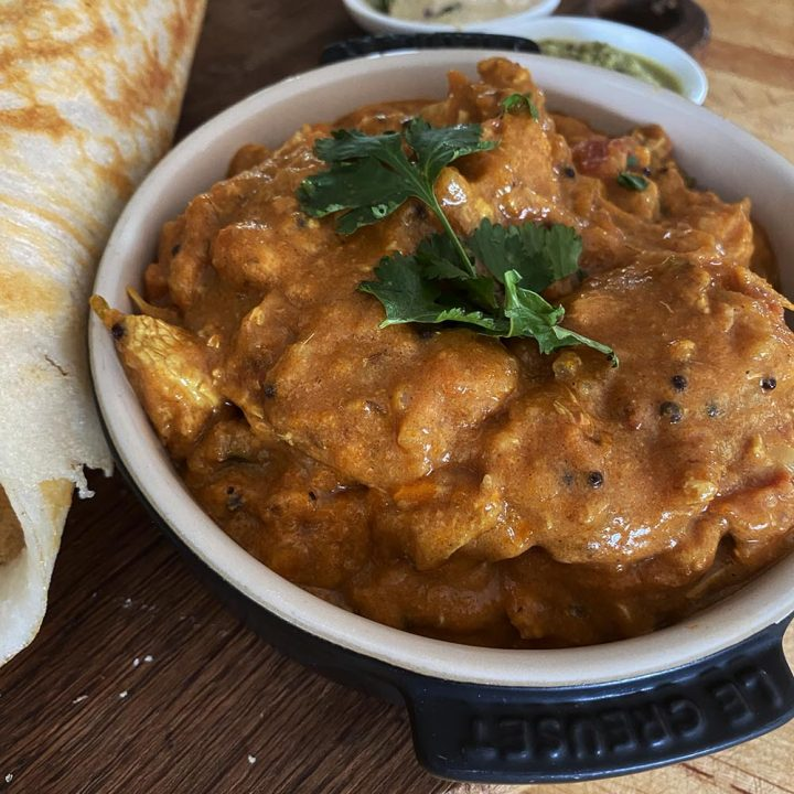 The finished creamy chicken curry